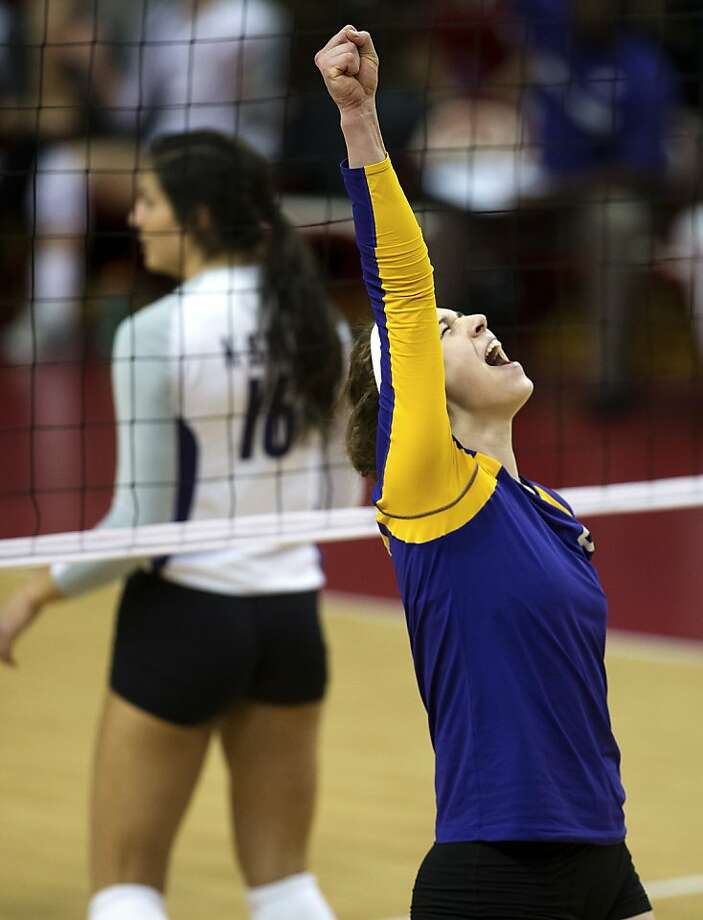 Northern Iowa's Megan Lehman celebrates a kill against Kansas State in the second set of their NCAA college volleyball match, Thursday, Nov. 29, 2012, in Lincoln, Neb. Northern Iowa won 3-0. (AP Photo/The World-Herald, Mark Davis) MAGS OUT; ALL NEBRASKA LOCAL BROADCAST TV OUT Photo: Mark Davis, Associated Press