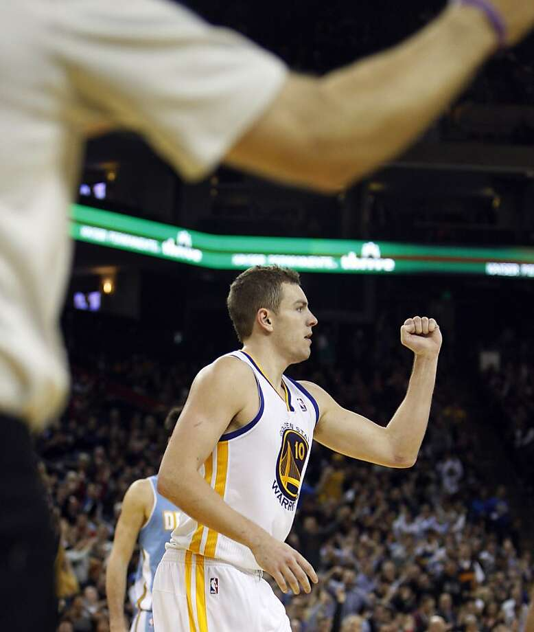 David Lee reacts to a foul being called after he made a shot in the fourth quarter. Lee missed the free throw on the play.  The Warriors defeated the Nuggets 106-105 when Andre Iguodala put up a three point shot just after time expired.  The Golden State Warriors played the Denver Nuggets at Oracle Arena in Oakland, Calif., on Thursday, November 29, 2012. Photo: Carlos Avila Gonzalez, The Chronicle