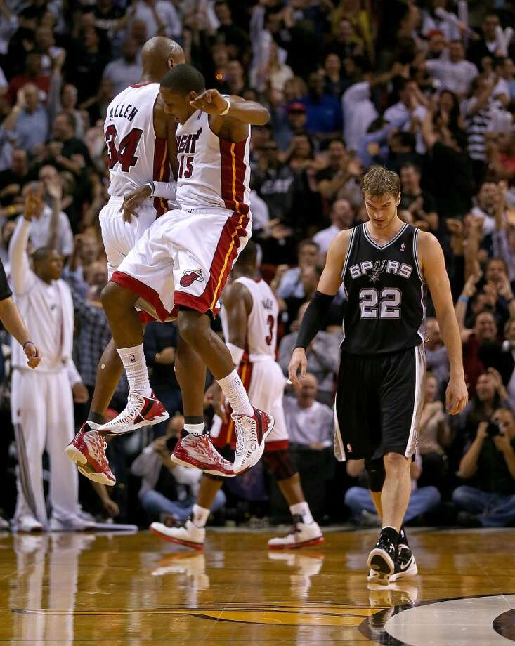 Ray Allen #34 of the Miami Heat reacts to a late game three pointer during a game against the San Antonio Spurs at American Airlines Arena on November 29, 2012 in Miami, Florida.