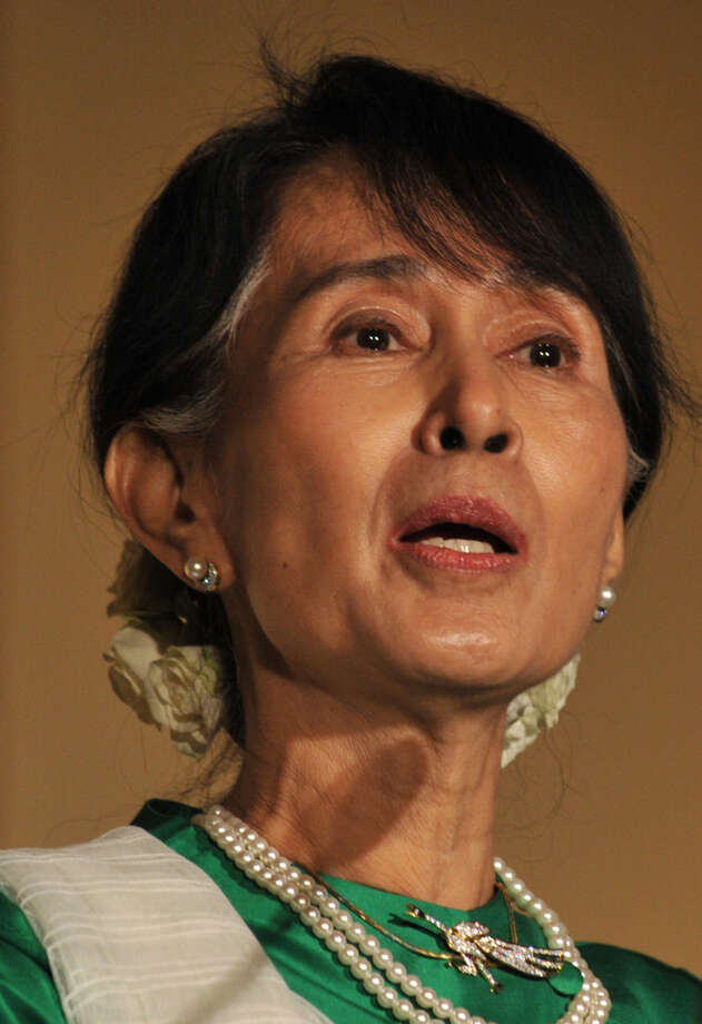Aung San Suu Kyi, Myanmar Member of Parliament and Nobel Peace Prize Laureate, speaks after she received the Atlantic Council 2012 Global Citizen Award September 21, 2012 in New York.  My vote for the coolest woman of 2012. Photo: STAN HONDA, AFP/Getty Images / 2012 AFP