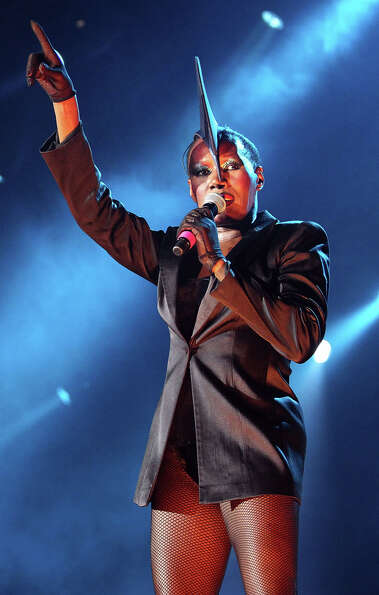 Grace Jones performs on stage during day two of the Bluesfest Music Festival at Tyagarah Tea Tree Fa