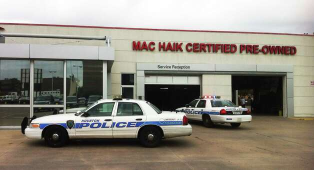 A Mac Haik dealership where a shooting occurred is seen. The gunman was a salesman and allegedly shot a manager police said. The victim was taken to memorial Hermann with an 80 percent chance of survival. Photo: Cody Duty, .