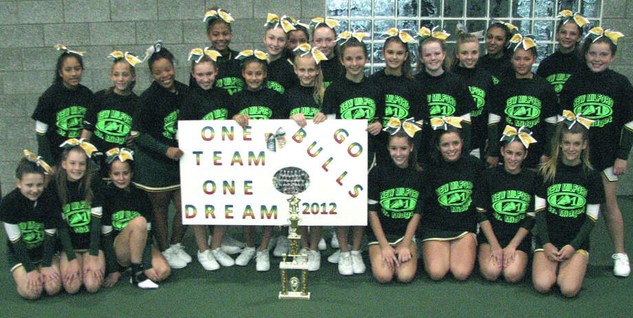 The New Milford Bulls' Pop Warner youth program's Junior Midgets cheerleaders recently won their division of the New Milford regional competition and will compete Dec. 6-8 in national competition at Disney World in Orlando, Fl.  Courtesy of the New Milford Bulls Photo: Contributed Photo