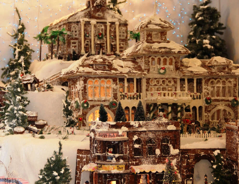 A gingerbread version of the Moana Surfrider (pictured) and other Waikiki/Honolulu landmarks are part of the edible exhibition at the Sheraton Princess Kaiulani.   (Starwood Waikiki)