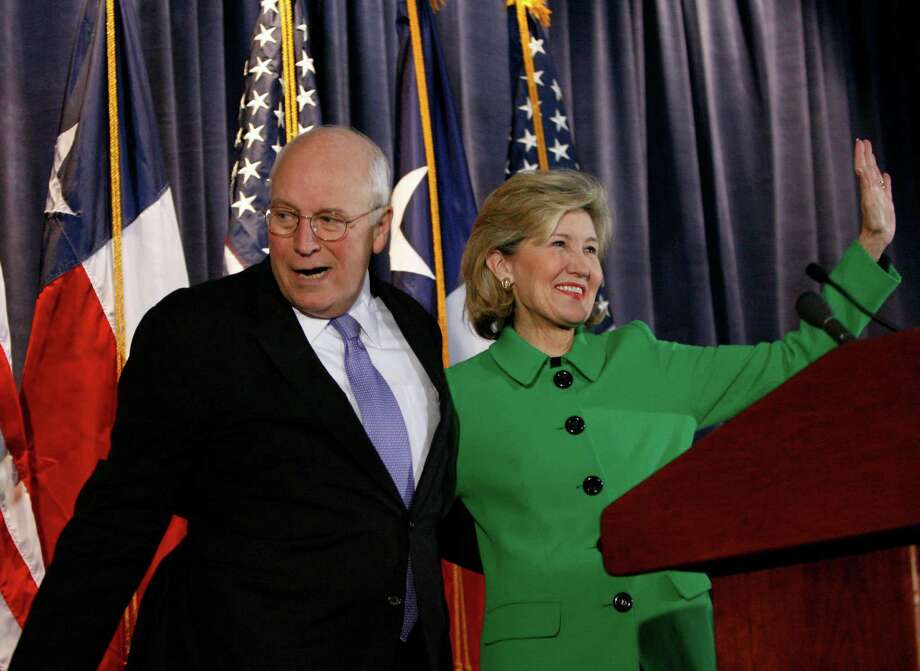 Former Vice President Dick Cheney and Sen. Kay Bailey Hutchison wave to the crowd before Cheney announced his support for Hutchison during a campaign stop in Houston, Tuesday, Nov. 17, 2009. Photo: Karen Warren, Houston Chronicle / Houston Chronicle
