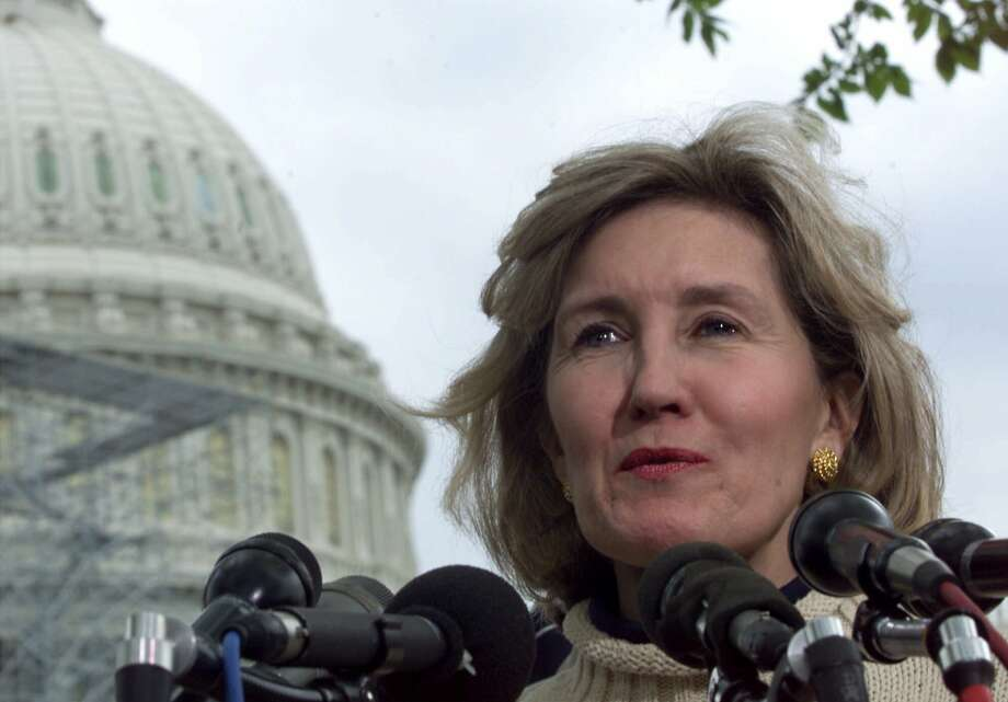 Sen. Kay Bailey Hutchison meets reporters on Capitol Hill Thursday April 20, 2000 to discuss her upcoming trip to Bosnia to visit Texas troops. (Hillery Smith Garrison / The Associated Press) Photo: HILLERY SMITH GARRISON, AP / AP