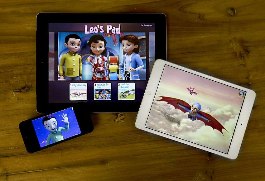 The game Leo's Pad app displayed on the iPad, iPad mini and the iPhone, at the headquarters of Kidaptive on Wednesday Nov. 21, 2012, in Palo Alto, Calif. Kidaptive the latest startup aiming to develop educational apps for kids. It comes as more and more children are using their parent's iPads and iPhones.