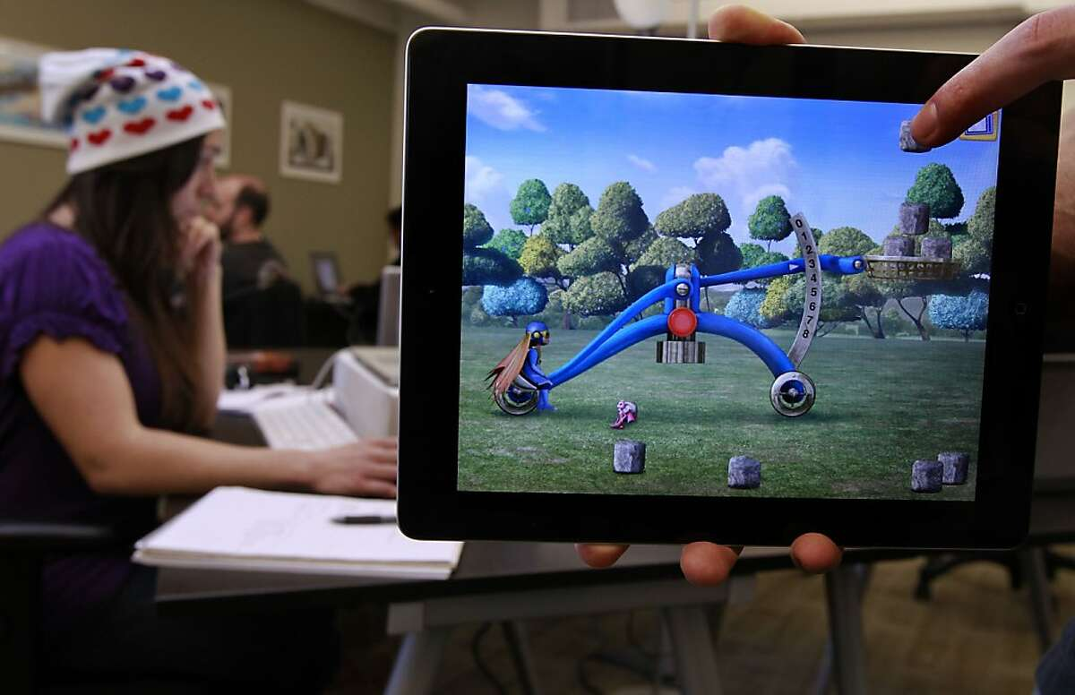 One of the tasks children must complete during the game is Catapult being displayed on the iPad at the headquarters of Kidaptive on Wednesday Nov. 21, 2012, in Palo Alto, Calif. Kidaptive the latest startup aiming to develop educational apps for kids. It comes as more and more children are using their parent's iPads and iPhones.