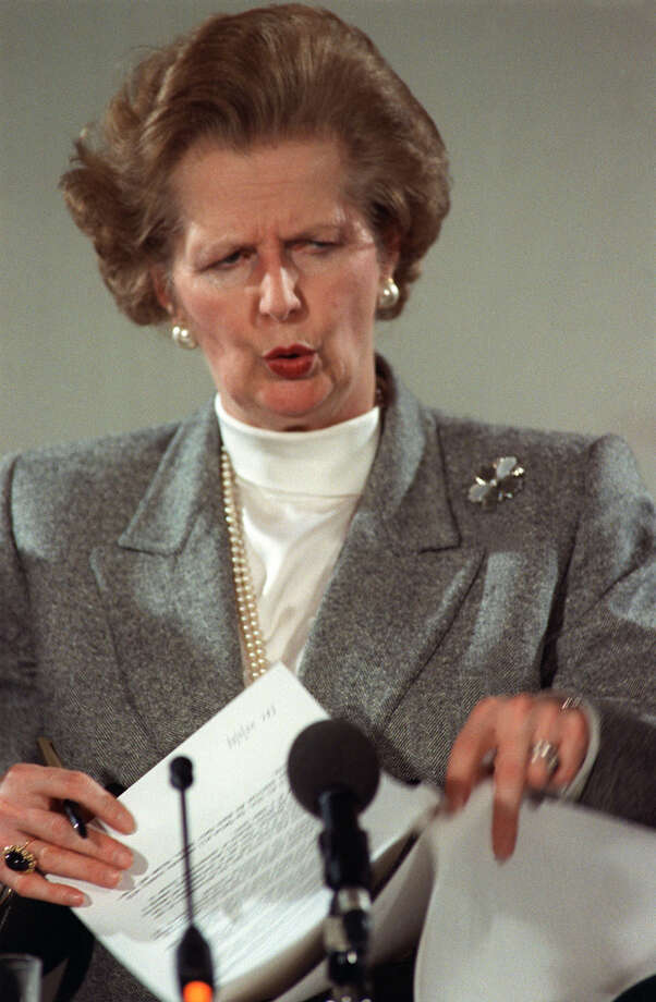British Prime Minister Margaret Thatcher frowns as she gives a press conference 05 December 1987 following a European Council meeting in Copenhagen.  The Iron Lady -- a perennial.  (Photo credit should read MICHEL GANGNE/AFP/GettyImages) Photo: MICHEL GANGNE, AFP/Getty Images / 2012 AFP