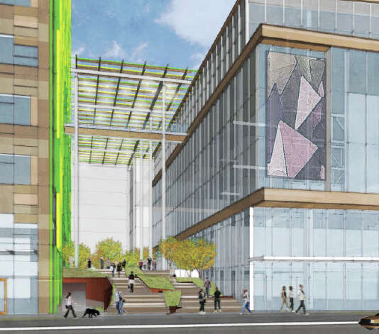 A depiction of a pedestrian area within the proposed Amazon campus. Photo: Amazon