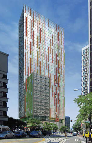 A depiction of a proposed Amazon tower along Westlake Avenue. Photo: Amazon