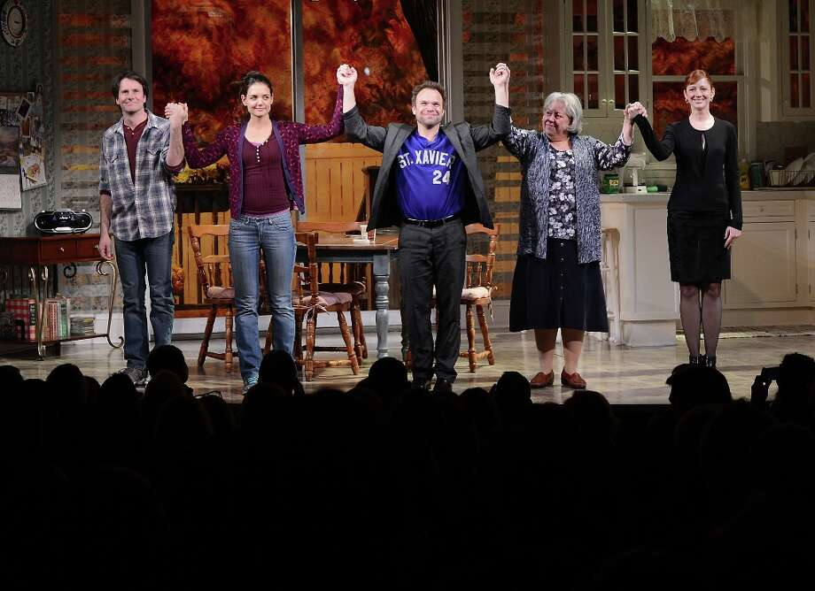(L-R) Actors Josh Hamilton, Katie Holmes, Norbert Leo Butz, Jayne Houdyshell and Judy Greer take their curtain call during the Dead Accounts Broadway opening night at the Music Box Theatre on November 29, 2012 in New York City. Photo: Andrew H. Walker, Getty Images / 2012 Getty Images