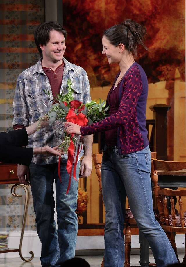 (L-R) Actors Josh Hamilton and Katie Holmes, receiving flowers, take their curtain call during the Dead Accounts Broadway opening night at the Music Box Theatre on November 29, 2012 in New York City. Photo: Andrew H. Walker, Getty Images / 2012 Getty Images
