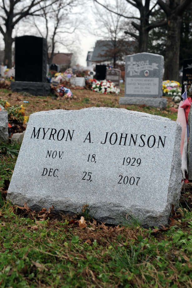 Myron Johnson's grave in Park Cemetery, in Bridgeport, Conn., Dec. 30th, 2012. Photo: Ned Gerard / Connecticut Post