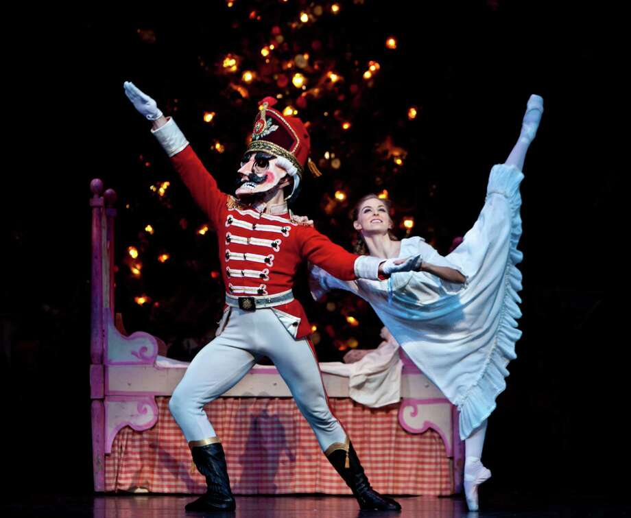 "Allison Miller and William Newton dance in ""The Nutcracker,"" choreographed by Ben Stevenson, with music by Pyotr Ilyich Tchaikovsky. Photo: Amitava Sarkar"