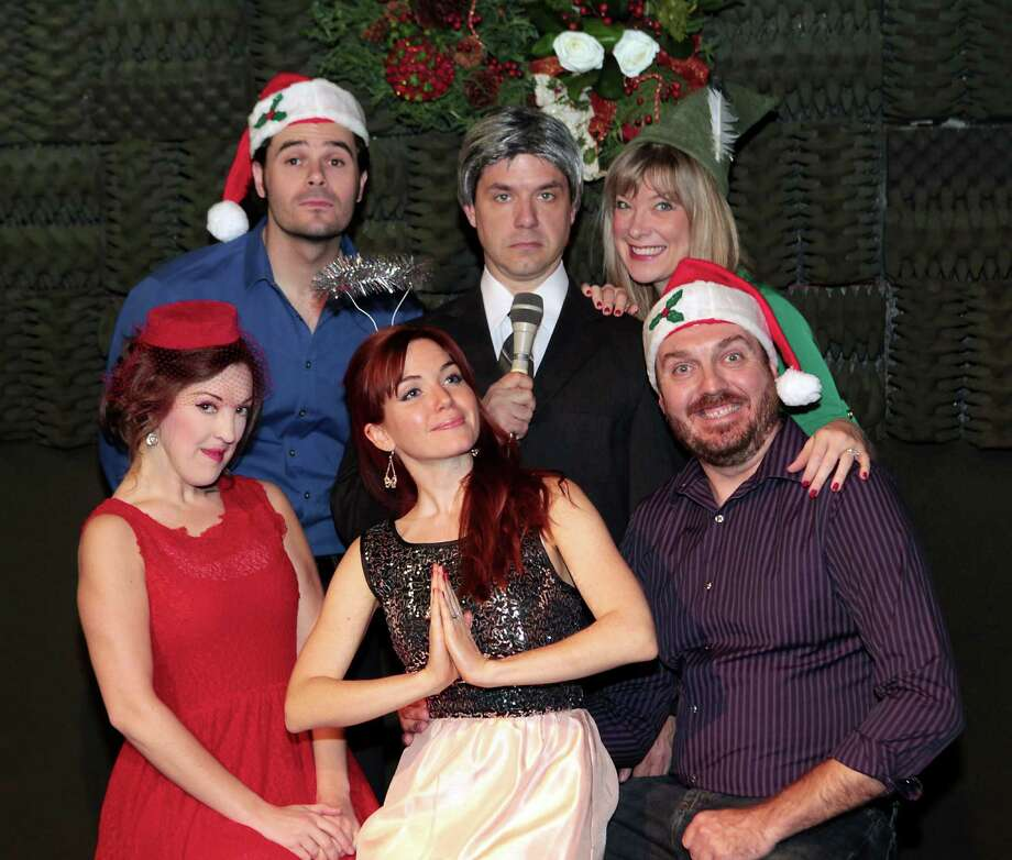 "Kristina Sullivan, from left, Brad Scarborough, Cay Taylor, John Gremillion, Rebekah Dahl and Luke Wrobel star in ""The White Christmas Album."" Photo: James Nielsen, Staff / © Houston Chronicle 2012"