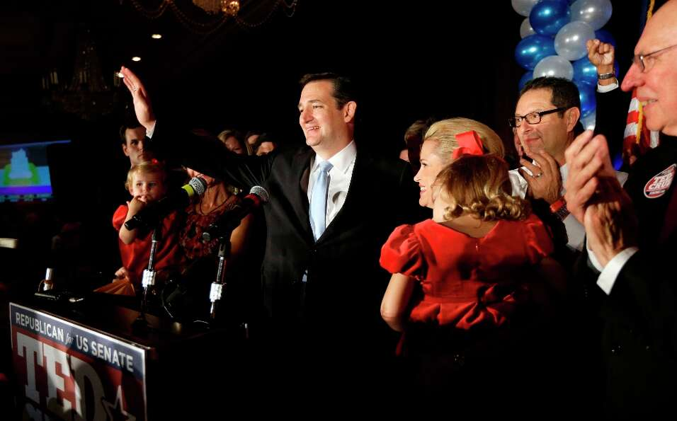 Republican candidate for U.S. Senate Ted Cruz thanks the crowd during a victory speech as he is join