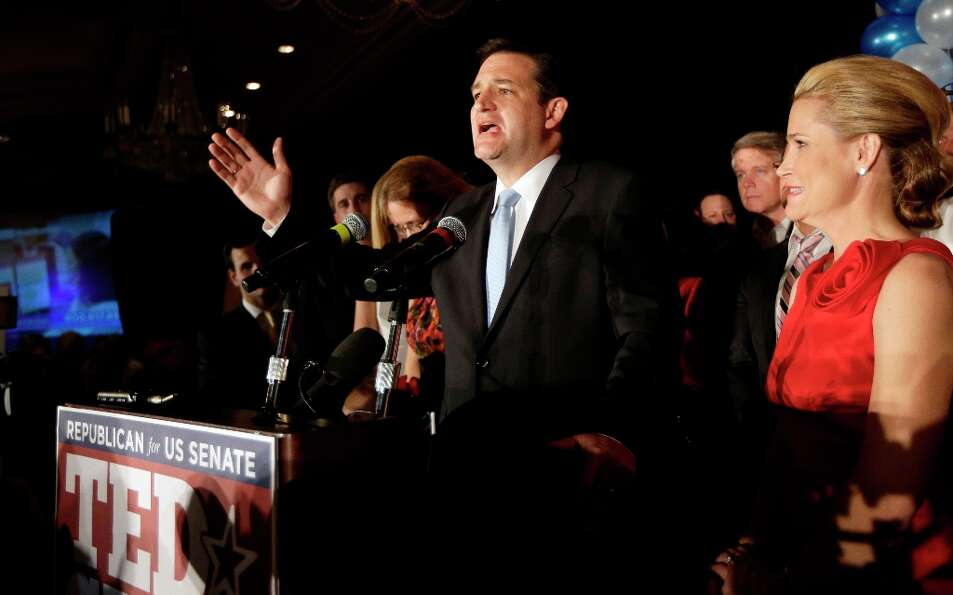 Republican candidate for U.S. Senate Ted Cruz delivers his victory speech as he is joined on stage b