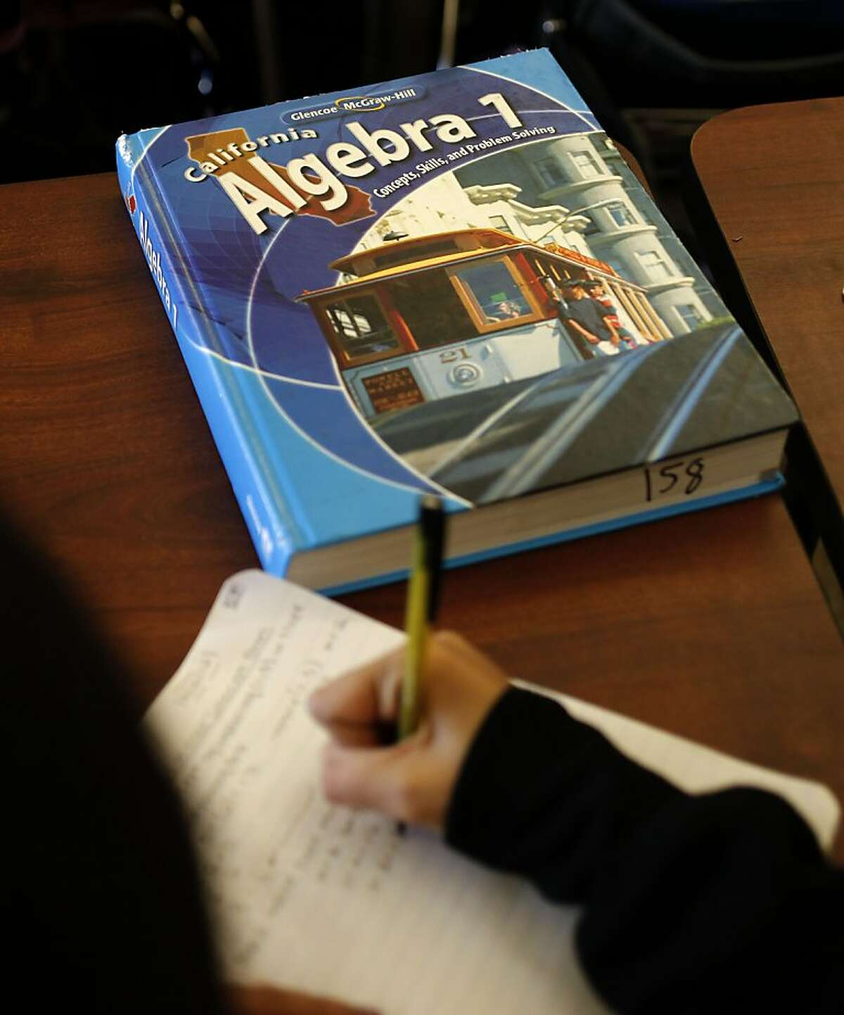 Eighth grade algebra text book at James Denman Middle School in San Francisco, Calif. on Friday Nov. 30, 2012. A new report by the Center for the Future of Teaching and Learning has found that students who fail algebra for the first time are pretty much destined to fail the second time, because they often take the same class the same way with the same teacher.