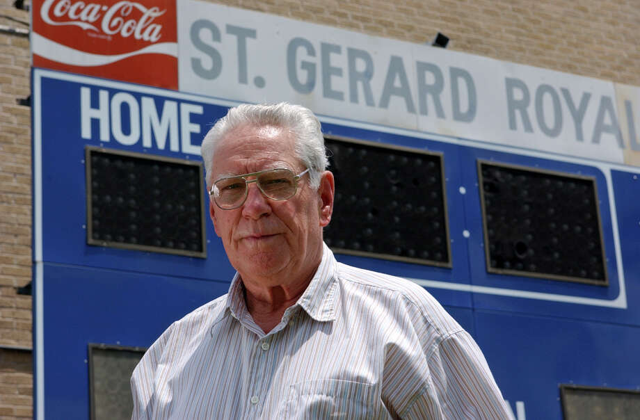 George Pasterchick was best known for his 34 years at St. Gerard, including 32 as football coach and athletic director. His Royals won eight district titles and the 1985 TCIL state title. Pasterchick is seen here posing for a photo May 2, 2006, before retiring as football coach at St. Gerard. Photo: Helen L. Montoya, San Antonio Express-News / © San Antonio Express-News