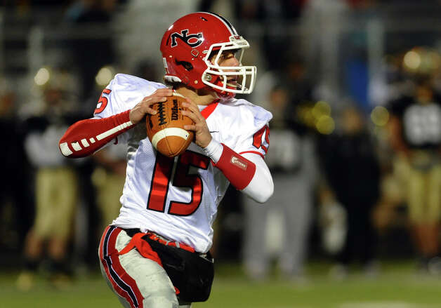 New Canaan QB Nick Cascione during boys football action against Trumbull in Trumbull, Conn. on Friday November 16, 2012. Photo: Christian Abraham / Connecticut Post