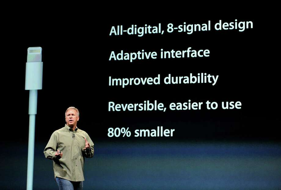 Philip Phil Schiller, senior vice president of worldwide marketing at Apple Inc., speaks during an event in San Francisco, California, U.S., on Wednesday, Sept. 12, 2012. Apple Inc. unveiled the iPhone 5 in an overhaul aimed at widening its lead over Samsung Electronics Co. and Google Inc. in the $219.1 billion smartphone market. Photo: David Paul Morris, Bloomberg / © 2012 Bloomberg Finance LP