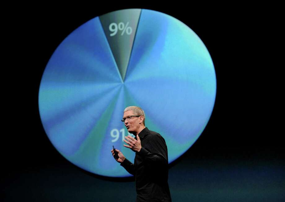 Tim Cook, chief executive officer of Apple Inc., speaks during an event in San Francisco, California, U.S., on Wednesday, Sept. 12, 2012. Apple Inc. unveiled the iPhone 5 in an overhaul aimed at widening its lead over Samsung Electronics Co. and Google Inc. in the $219.1 billion smartphone market. Photo: David Paul Morris, Bloomberg / © 2012 Bloomberg Finance LP