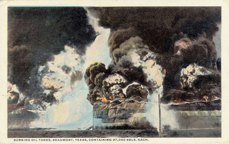 Postcards were a popular, and less expensive, way to stay in touch with the folks at home. The stamps cost less than those for a letter and you could scribble a quick message on the back of the card. The pictures in front showed mostly pleasant scenes, except for one from Beaumont in 1922 that shows oil tanks on fire with black smoke boiling out of them. Other Beaumont scenes are much more placid.   Photo provided by Dan Wallach
