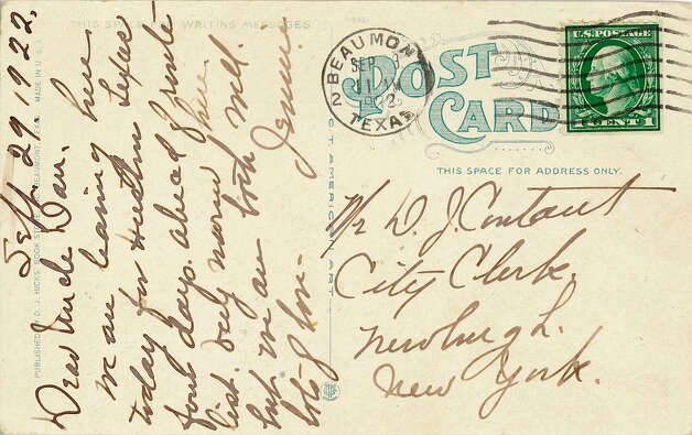 Postcards were a popular -- and less expensive -- way to stay in touch with the folks at home. The stamps cost less than those for a letter and you could scribble a quick message on the back of the card. The pictures in front showed mostly pleasant scenes, except for one from Beaumont in 1922 that shows oil tanks on fire with black smoke boiling out of them. Other Beaumont scenes are much more placid.   Photo provided by Dan Wallach