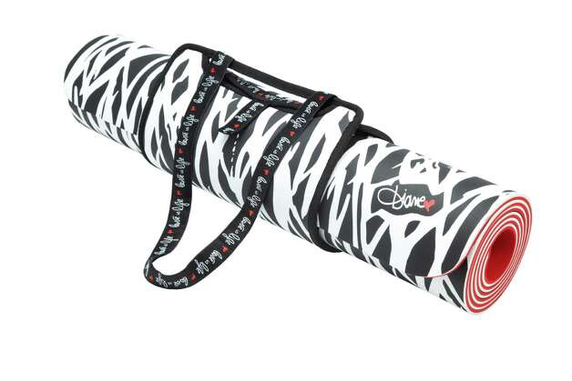 The Diane von Furstenberg yoga mat comes with a matching carrying sleeve. Photo: Target /  Neiman Marcus