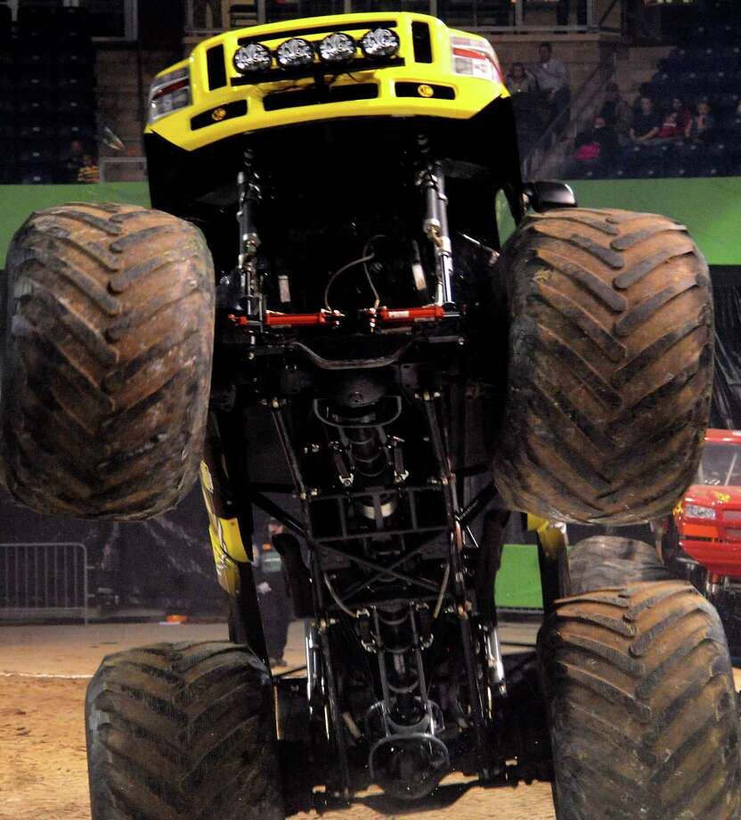 "Zach Adams in The Defender competes in the Monster Nation Monster Truck Race at Ford Park in Beaumont, Friday"".  Tammy McKinley/ The Enterprise Photo: TAMMY MCKINLEY / Beaumont"
