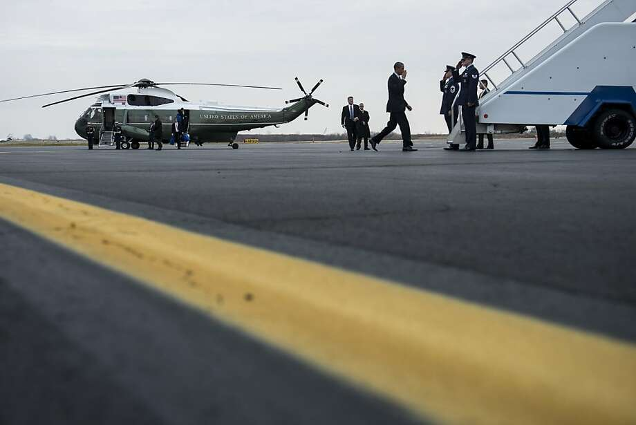 President Obama boards Air Force One at Philadelphia International Airport after making a speech in nearby Hatfield. Photo: Brendan Smialowski, AFP/Getty Images