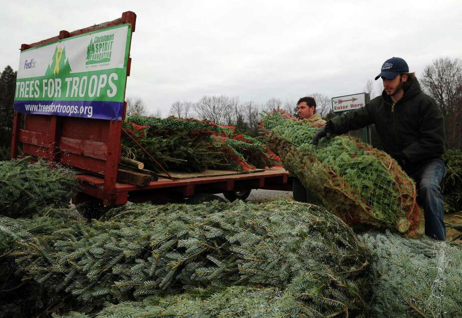 Corey Drapala, center, and Jordan Adey of Ellms Family Farm load up Christmas trees for the  ?Trees for Troops? effort in Ballston Spa, NY Friday Nov. 30, 2012. (Michael P. Farrell/Times Union) Photo: Michael P. Farrell