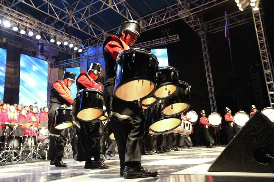 The MacArthur Jammin' Generals Drumline perform during the Mayor's 2012 Holiday Celebration and Tree Lighting at City Hall on Friday, Nov. 30, 2012, in Houston. Photo: Mayra Beltran, Houston Chronicle / © 2012 Houston Chronicle