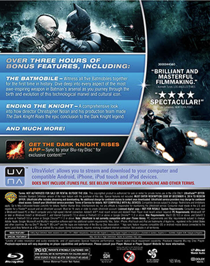 BD back cover for The Dark Knight Rises (Warner Bros. / 2012)