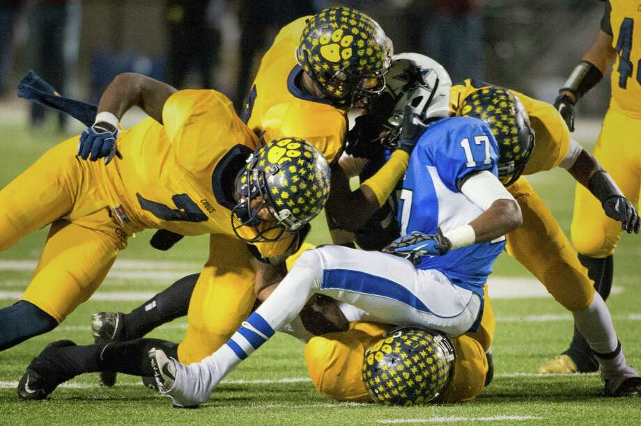 Navasota's Tarrance Creeks (17) is brought down by the La Marque defense. Photo: Smiley N. Pool, Houston Chronicle / © 2012  Houston Chronicle
