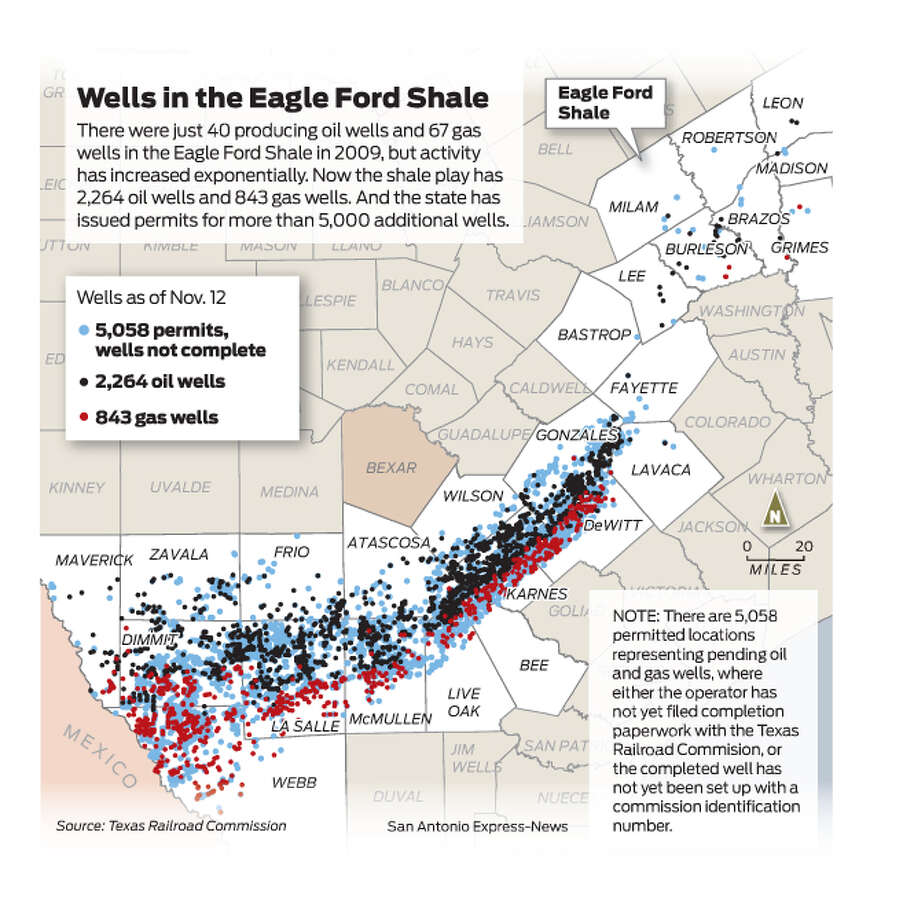 There were just 40 producing oil wells and 67 gas wells in the Eagle Ford Shale in 2009, but activity has increased exponentially. Now the shale play has 2,264 oil wells and 843 gas wells. And the state has issued permits for more than 5,000 additional wells. Photo: Mike Fisher