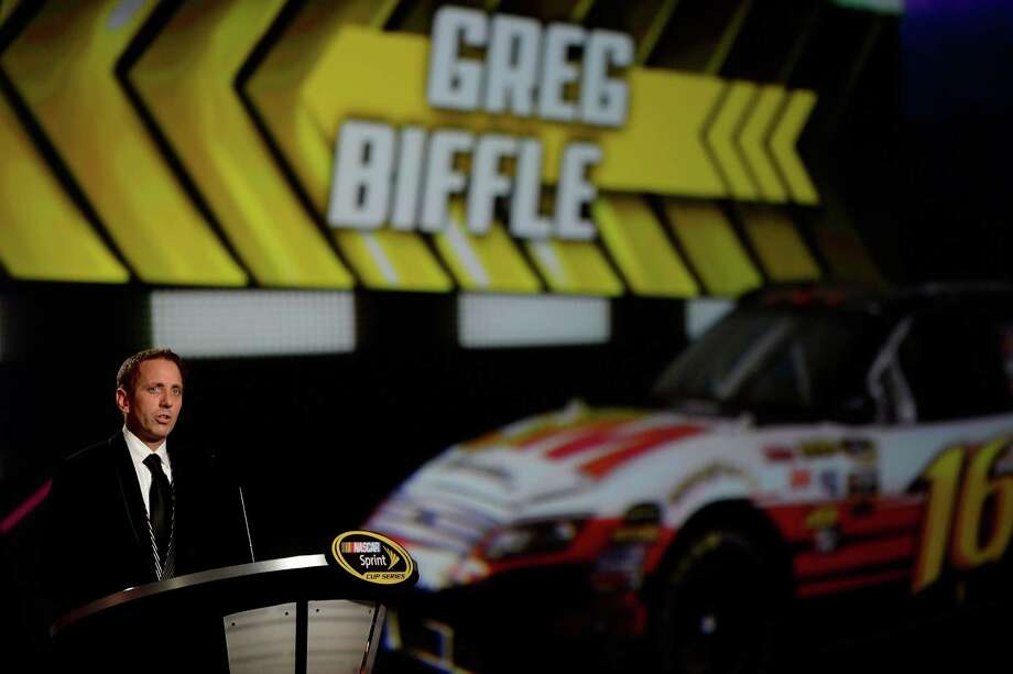 LAS VEGAS, NV - NOVEMBER 30:  Fifth Place Greg Biffle, driver of the #16 3M Ford, speaks during the NASCAR Sprint Cup Series Champion's Awards Ceremony at the Wynn Las Vegas on November 30, 2012 in Las Vegas, Nevada. Photo: Jeff Bottari, Getty Images For NASCAR / 2012 Getty Images