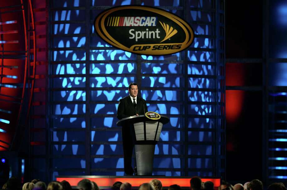LAS VEGAS, NV - NOVEMBER 30:  Ninth Place Tony Stewart, driver of the #14 Office Depot/Mobil 1 Chevrolet, speaks during the NASCAR Sprint Cup Series Champion's Awards Ceremony at the Wynn Las Vegas on November 30, 2012 in Las Vegas, Nevada. Photo: Jeff Bottari, Getty Images For NASCAR / 2012 Getty Images