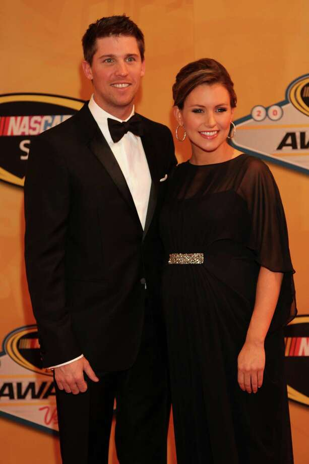 LAS VEGAS, NV - NOVEMBER 30:  Denny Hamlin, driver of the #11 FedEx Express Toyota, and Jordon Fish arrive on the red carpet for the NASCAR Sprint Cup Series Champion's Awards at the Wynn Las Vegas on November 30, 2012 in Las Vegas, Nevada. Photo: John Gurzinski, Getty Images For NASCAR / 2012 Getty Images