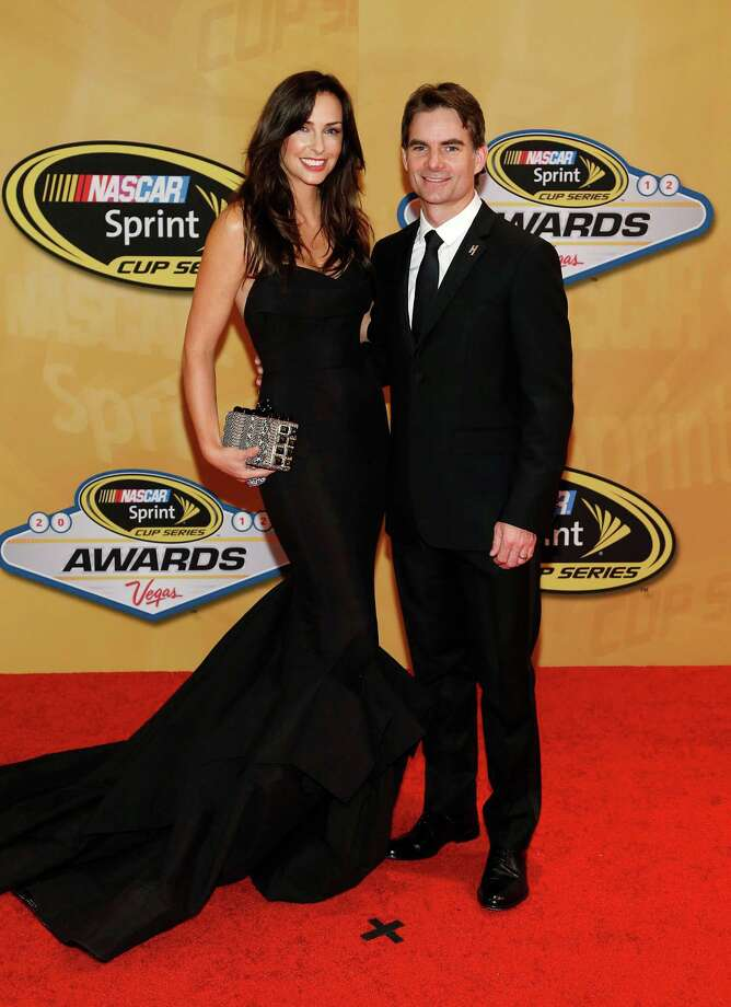 Ingrid Vandebosch and Jeff Gordon arrive for the NASCAR Sprint Cup Series auto racing awards, Friday, Nov. 30, 2012, in Las Vegas. (AP Photo/Isaac Brekken) Photo: Isaac Brekken, Associated Press / FR159466 AP