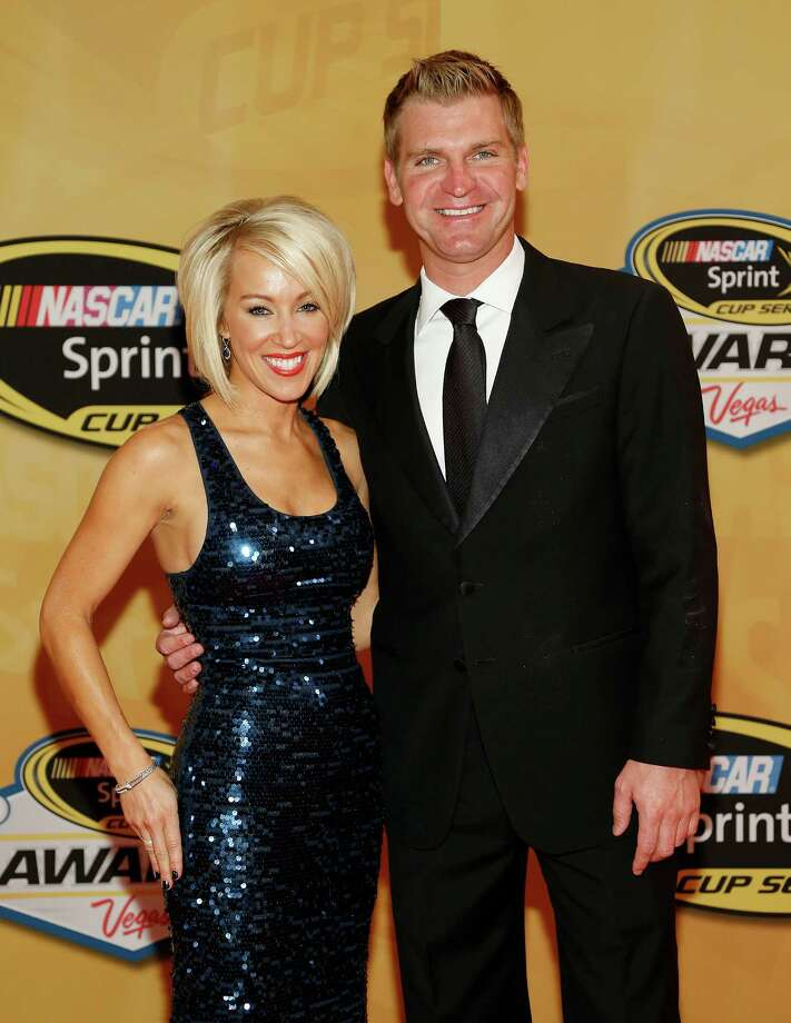 Clint Bowyer and Lorra Podsiadlo arrive at the NASCAR Sprint Cup Series auto racing awards, Friday, Nov. 30, 2012, in Las Vegas. (AP Photo/Isaac Brekken) Photo: Isaac Brekken, Associated Press / FR159466 AP