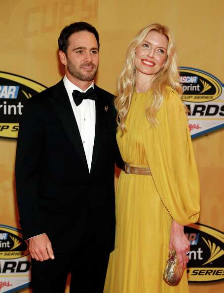 Jimmie Johnson and Chandra Johnson arrive for the NASCAR Sprint Cup Series auto racing awards, Frida