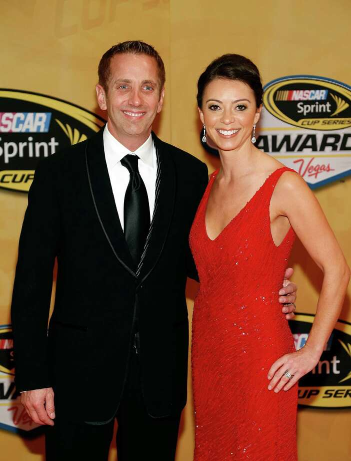 Greg Biffle and Nicole Biffle arrive at the NASCAR Sprint Cup Series auto racing awards Friday, Nov. 30, 2012, in Las Vegas. (AP Photo/Isaac Brekken) Photo: Isaac Brekken, Associated Press / FR159466 AP