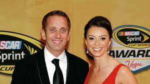 Greg Biffle and Nicole Biffle arrive at the NASCAR Sprint Cup Series auto racing awards Friday, Nov. 30, 2012, in Las Vegas. (AP Photo/Isaac Brekken)