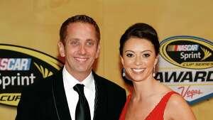 Greg Biffle and Nicole Biffle arrive at the NASCAR Sprint Cup Series auto racing awards Friday, Nov. 30, 2012, in Las Vegas. (AP Photo/Isaac Brekken)