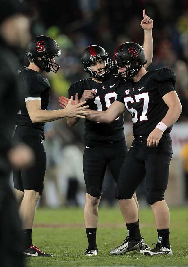 Stanford place kicker Jordan Williamson center celebrates his go-ahead field goal at the end of the second quarter Friday Nov. 30, 2012, during their Pack 12 championship game with UCLA in Stanford, Calif. Photo: Lance Iversen, The Chronicle