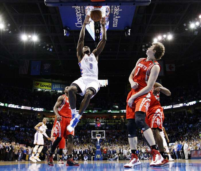 Nov. 28: Thunder 120, Rockets 98Thunder forward Serge Ibaka (9) shoots in front