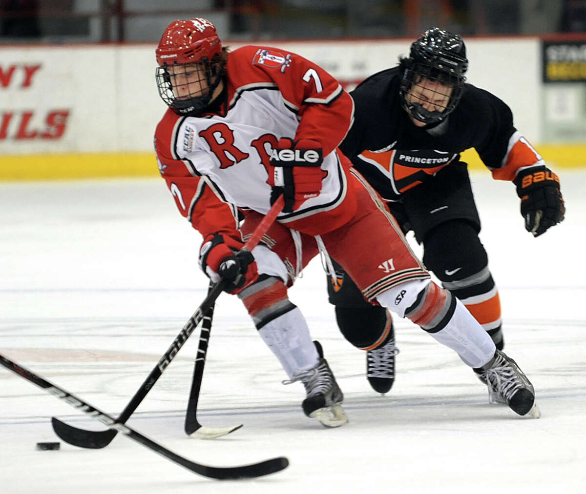 RPI's Zach Schroeder (7), left, controls the puck as Princeton's Aaron Kesselman (11) defends during their hockey game on Friday, Nov. 30, 2012, at Rensselaer Polytechnic Institute in Troy, N.Y. (Cindy Schultz / Times Union)