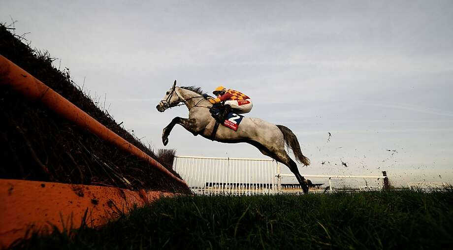 Tom Scudamore riding Dynaste clear the last to win the Fuller's London Pride Novices' Steeple Chase at Newbury racecourse on November 30, 2012 in Newbury, England. Photo: Alan Crowhurst, Getty Images